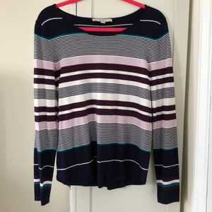 Striped lightweight scoop neck sweater